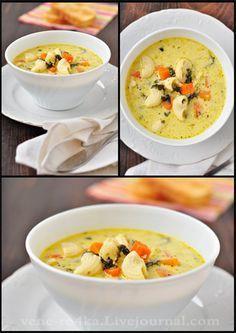 Моя вкусная жизнь в картинках - Сырно-молочный суп с овощами и макаронными изделиями.