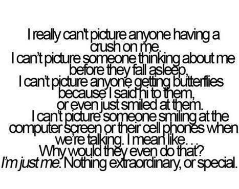 I really can't picture anyone having a crush on me. I can't picture someone thinking about me before they fall asleep. I can't picture anyone getting butterflies because I said hi to them, or even just smiled at them. I can't picture someone smiling at the computer screen or their cell phones when we're talking. I mean like... Why would they even do that? I'm just me. Nothing extraordinary, or special.