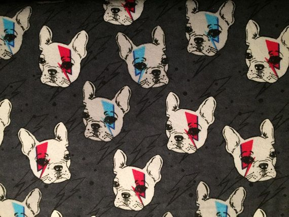 FLANNEL  Gray Dog Fabric  Boston Terrier Fabric  by Crazy4Claire