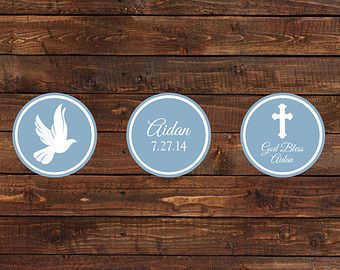 Blue Baptism Cupcake Toppers First Communion by CrowningDetails