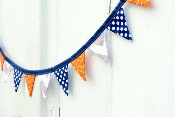 Mini Navy Blue Orange Gray Pennant Banner Fabric Bunting My