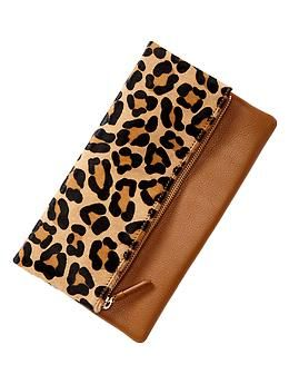 Leopard foldover clutch - real leather, on sale for $39.96. Someone hold me back.