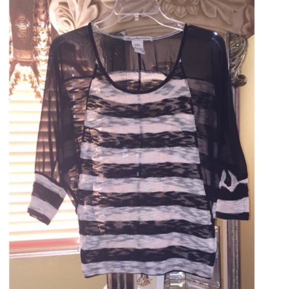 American Rag striped see-through top Black and white see through top! Worn a few times! No damages! American Rag Tops