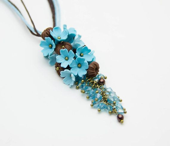 Floral Pendant  turquoise and chocolate polymer от JewelryFloren