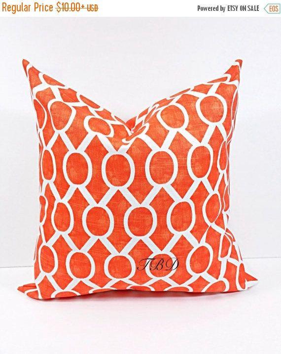 SALE Orange Pillow cover. Burnt Orange and white.Burnt Orange