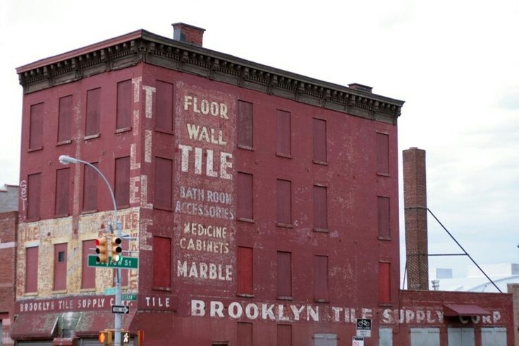 Brick facade and typography. NYC