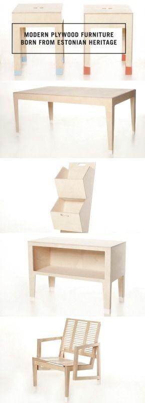 Beautiful Kesselhaus birch plywood furniture made in Estonia. on www.uustuus.ee