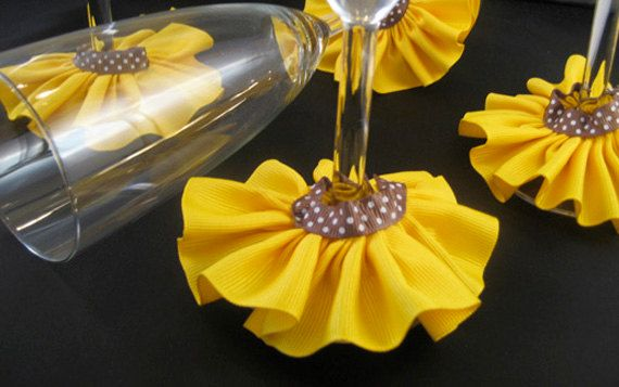 Sunflower Wine Skirts  Charms  Set of 4 by frillmeup on Etsy, $8.00
