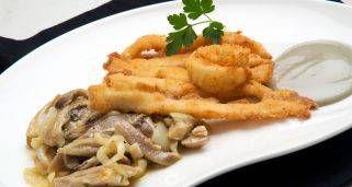 Receta de Tiras de calamar con setas al azafrán