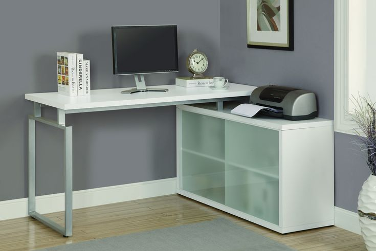 L-shaped Desk with Frosted Glass Cabinet & Floating Top in White. What if it swiveled to save space!?