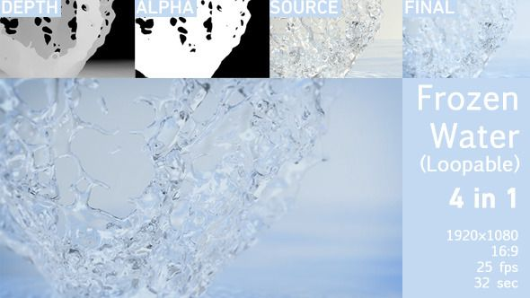 Frozen Water  Great for Titles, Intros, Greating cards, Presentations, Home videos, Marketing campaigns, Event promotion, Presentation for a project website or business, Special events, Product advertising, Commercial projects, Sell your idea, Promo sales and so on.  4 QuickTime videos included.