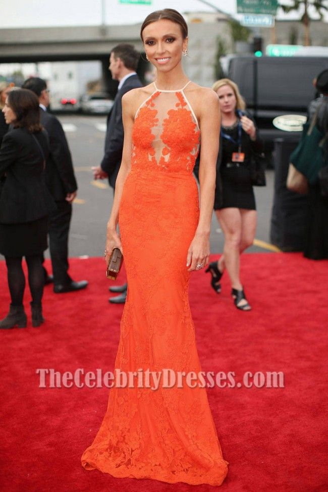 Giuliana Rancic Orange Lace Formal Dress 2014 Grammy Red Carpet - TheCelebrityDresses