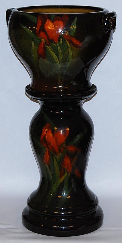 Radford Pottery Red Iris Standard Glaze Jardiniere and Pedestal