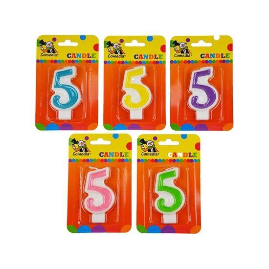 Cijferkaars 5 jaar. Verjaardagskaars in de vorm van het getal 5. Formaat ongeveer 8 cm hoog en 4,5 cm breed.
