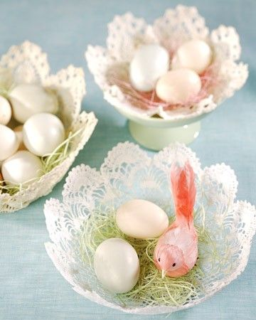 Create a beautiful basket out of an old-fashioned doily and fill it with blown-out eggs for a simple Easter decoration.