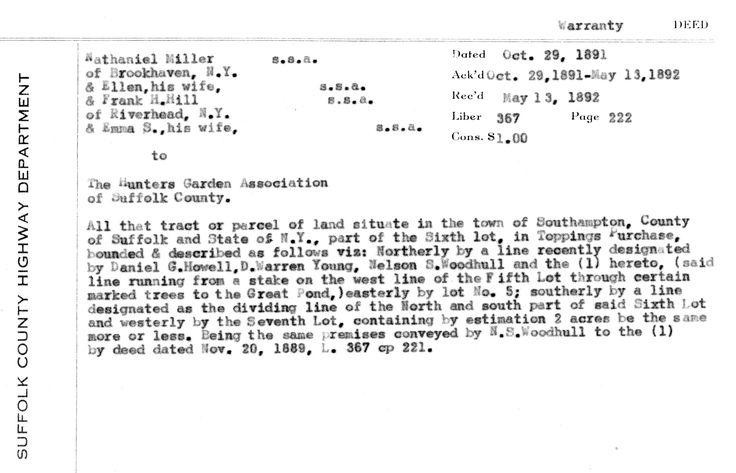 Deed for property on Wildwood Lake - property deed