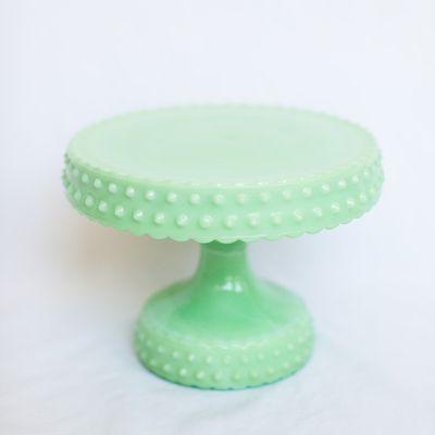 Vintage Cake Stand / Jade Green Milk Glass.   Hobnail.