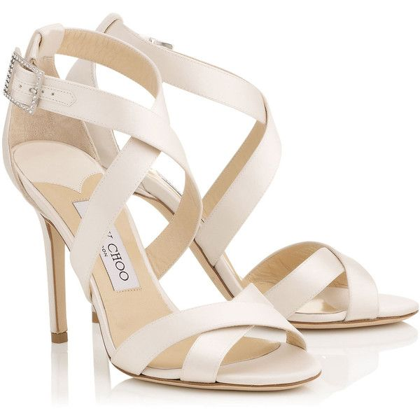 Ivory Satin Strappy Sandals LOTTIE (46,275 INR) ❤ liked on Polyvore featuring shoes, sandals, heels, ivory shoes, bridal shoes, bride sandals, strappy shoes and jimmy choo shoes