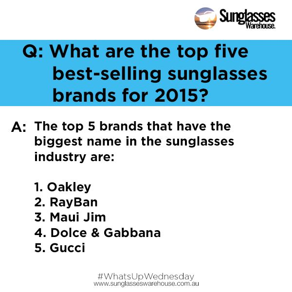 """""""#WhatsupWednesday: What are the top 5 designer brands?  Answer: Gucci, Dolce & Gabbana, Maui Jim, RayBan, Oakley  Have a question/suggestion? Help us improve our services. Share it with us and we'll answer in the best way we can!  Send your questions via https://www.sunglasseswarehouse.com.au/contacts"""""""