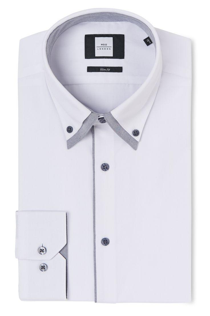 Moss 1851 Slim Fit Sky Single Cuff Skinny Stripe Shirt