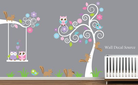 Nursery Wall Decal With Squirrels Owls Birds   by WallDecalSource, $99.00