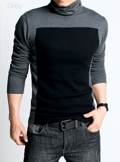 Kuegou - Turtleneck Panel Sweater