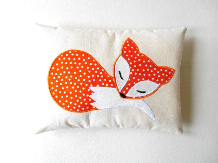 Orange Fox Pillow Decoration, Handmade Applique Fox Cushion on Eco Friendly Natural Cotton, Orange Woodland Nursery, Forest Animal Gift by HandmadeByEvaRose on Etsy https://www.etsy.com/listing/215713650/orange-fox-pillow-decoration-handmade