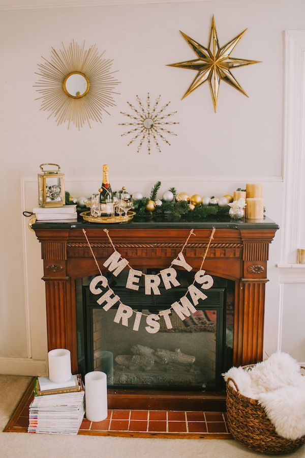 A Glam Holiday Mantle With Pottery Barn Christmas