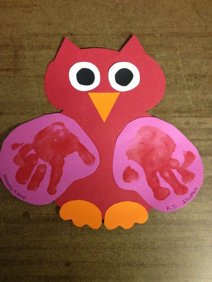 Owl Valentine handprint craft