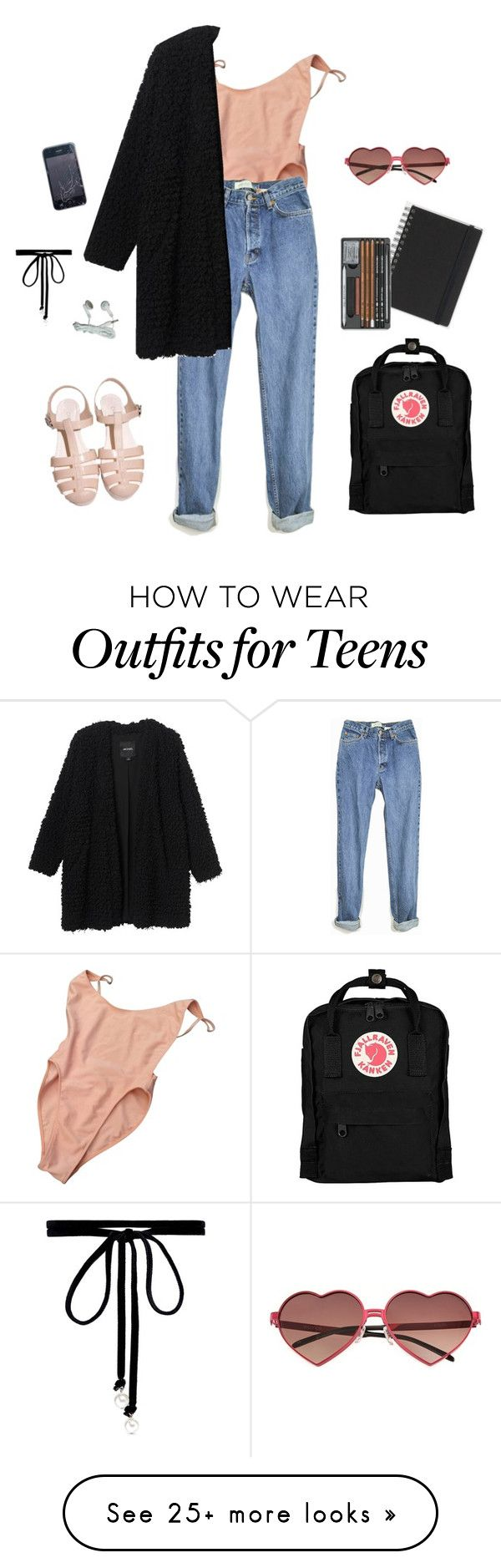 """""""Peach"""" by basiclinsey on Polyvore featuring American Apparel, Monki, Wildfox, Muji, Fjällräven and Joomi Lim"""