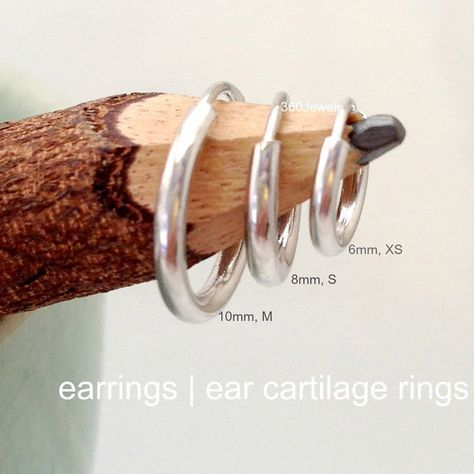Mens silver hoop earrings, upper earlobe earring, wire hoop earrings, helix tragus daith rook...