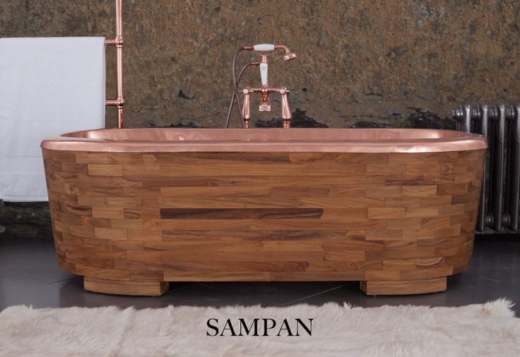 Our stunning Sampan bath. Featuring a stunning copper interior and clad in the finest teak wood. This bath is truly one of the greats! Copper bath wood bathroom bathroom interior