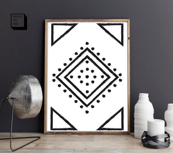 Navajo print, aztec print, boho art, southwestern home decor, southwest print, download, black and white, printable, digital, 8x10, 18x24