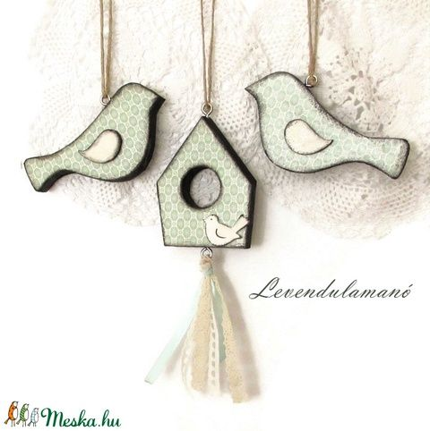 Tavaszváró menta színű madaras szett (Levendulamano) - Meska.hu