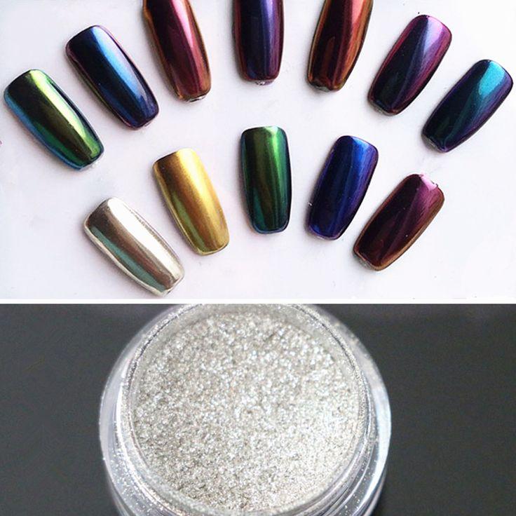 1 g/caja Espejo Bling Del Brillo Del Clavo Del Polvo de Oro/Astilla Lentejuelas Del Arte Del Clavo Glitters Pigmento de Cromo
