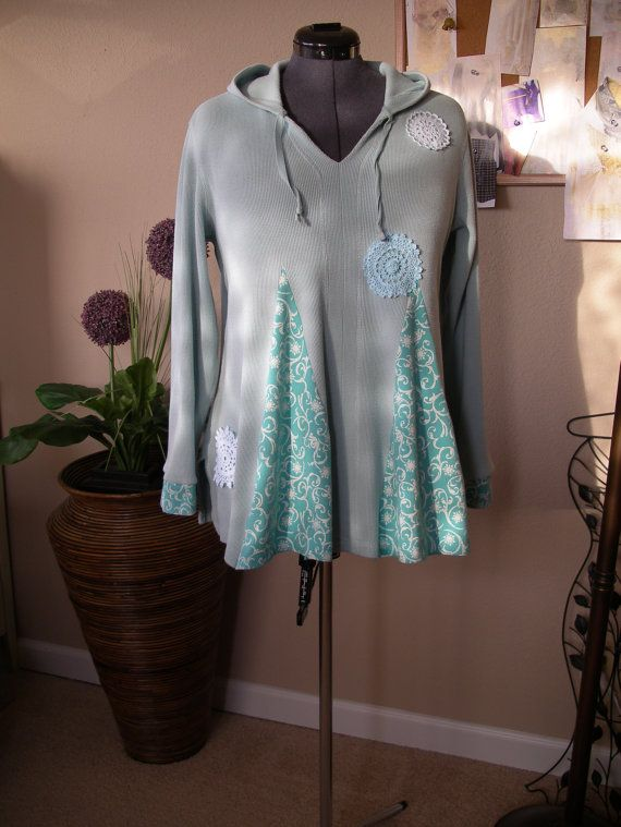 Hey, I found this really awesome Etsy listing at https://www.etsy.com/listing/220927445/powder-blue-thermal-hoodie-top-upcycled