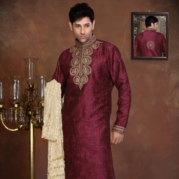 Magenta Art Silk Readymade Kurta with Churidar
