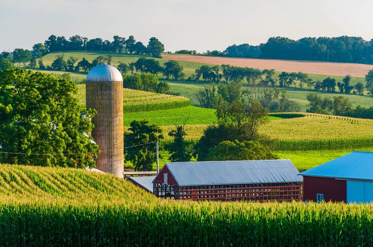 View of barns and silo on a farm in a rural area of York County, Pennsylvania.