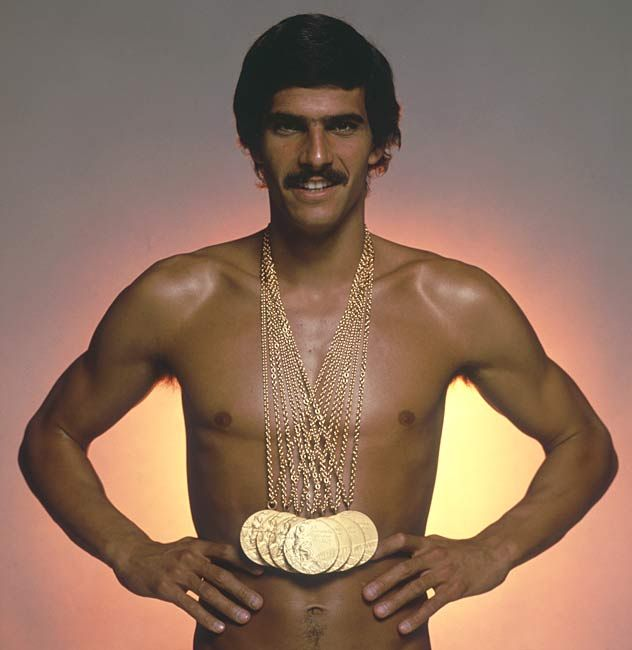 American Mark Spitz at the 1972 Olympics in Munich won seven gold medals in seven events (100 m butterfly,100 m freestyle, 200 m butterfly, 200 m freestyle, 4×100 m freestyle, 4×100 m medley, 4×200 m freestyle).  He is also the only Olympian to set a world record in each event.