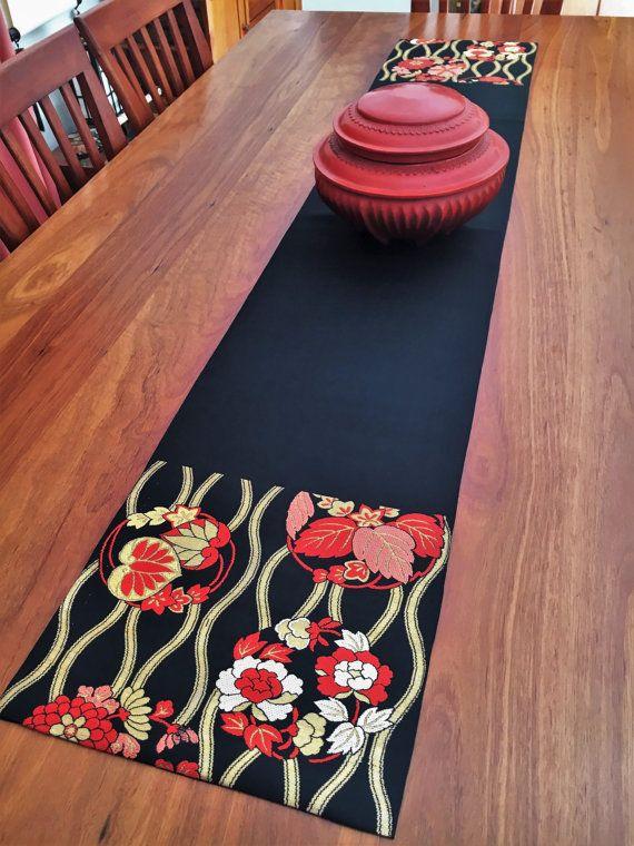 Vintage Japanese Obi Table Runner  Black / Gold / Red / by Setsuri
