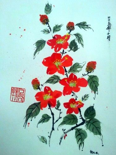 Camellia -   Kamelie#Chinese brush paints