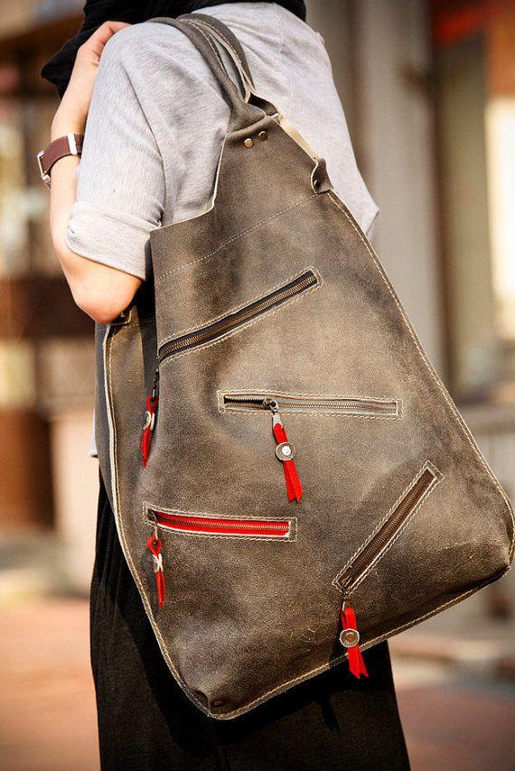 Grey Leather Oversized Bag ladybuq by ladybuq on Etsy, $195.00