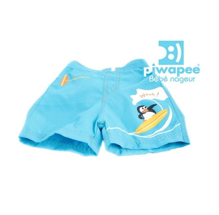 Short de bain - couche bébé nageur (6-12M) Bleu lagon - Pingouin de Piwapee.