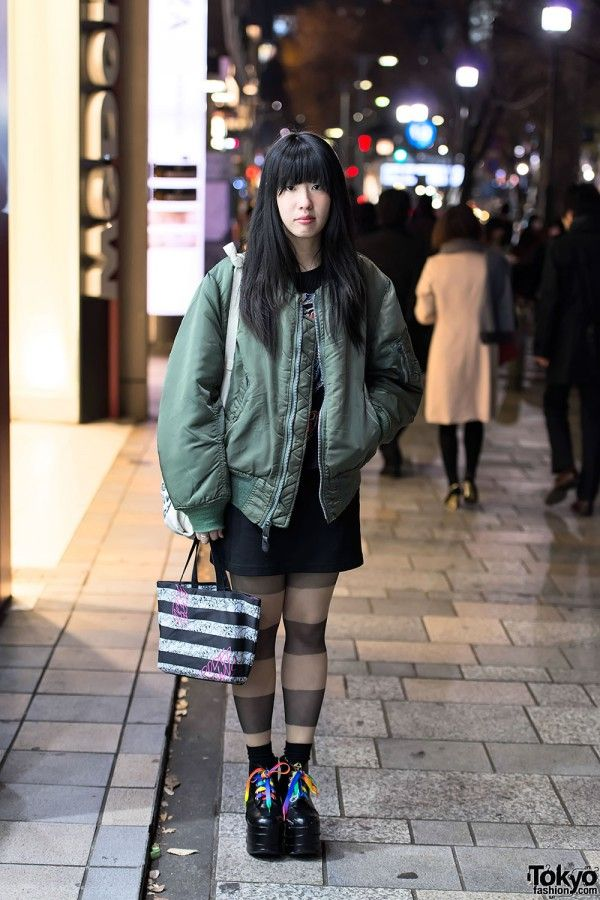 MA-1 bomber jacket - a Tokyo winter trend item - on the street in #Harajuku. #tokyofashion #uniqueness