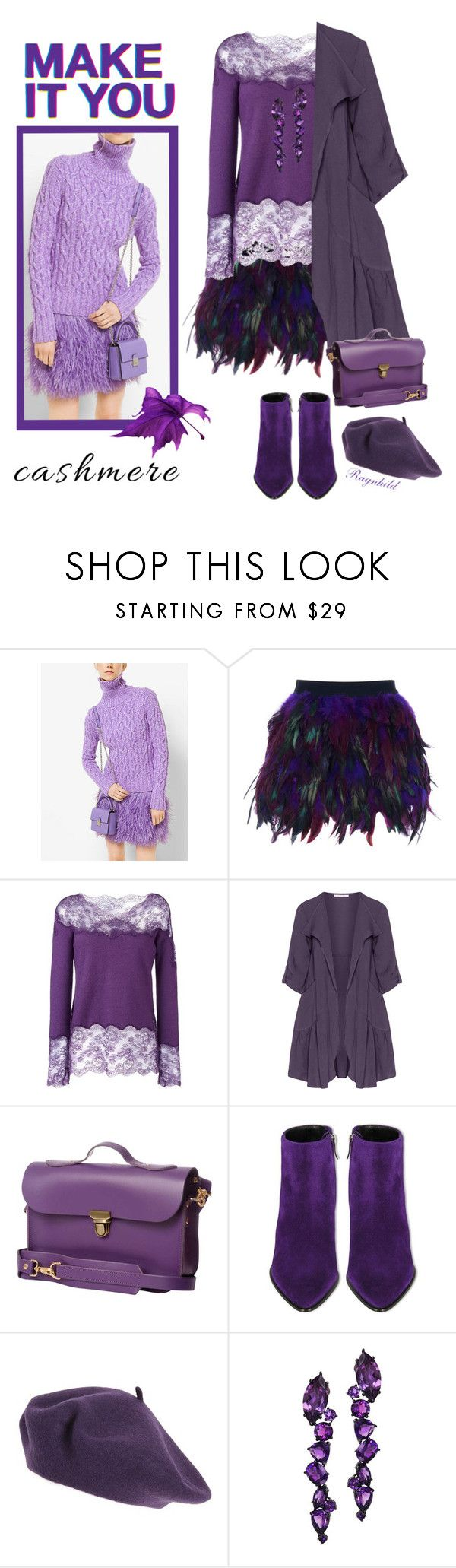 """Purple Cozy Cashmere"" by ragnh-mjos ❤ liked on Polyvore featuring Michael Kors, WithChic, Ermanno Scervino, Oliver Jung, N'Damus, Barbara Bui, Halogen, Plukka and Converse"