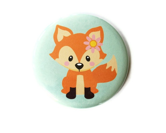 Fox Pocket Mirror - Fox Party Favor - Mint Green. $4,50, via Etsy.
