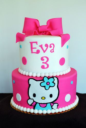 Pink and Blue Hello Kitty Cake by Simply Sweet Creations (www.simysweetonline.com)