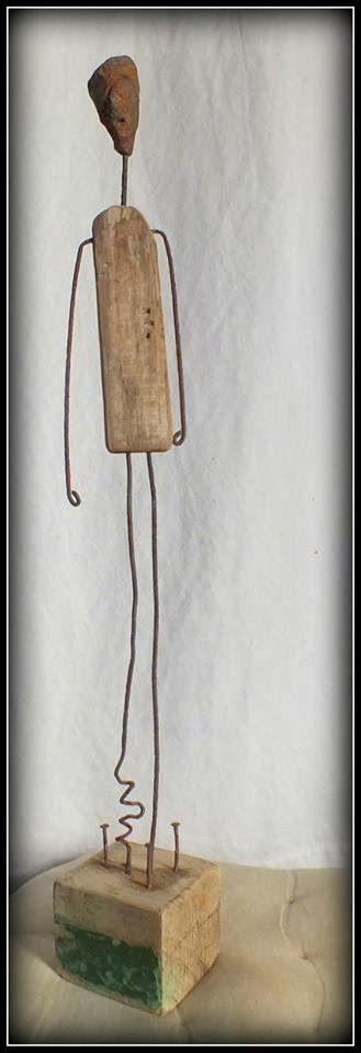 Attente, sculpture en bois flotté et métal driftwood art, on http://mutozinc.blogspot.fr/, Vendée, assemblage