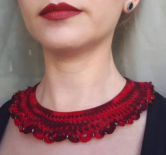 Bordeaux crochet necklace crochet collar statement necklace