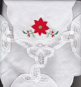 Classic Red Poinsettia with Battenburg Lace tips on every corner is a beautiful finishing touch to the larger Batten Poinsettia tablecloth.  SHOP NOW https://thelaceandlinensco.com/store/products/christmas-bun-covers-finishing-touch-to-festive-table-setting/attachment/wbatten-poinsettia-flipbunwarmertoast-cover-mpwl  #shopvintage #vintagedecor #weddings #lace #battenburg #antique #handembroidered #vintagedoily #vintagefinds #victorian #vintagegoods #vintagelinens #linens #vintagetablecoth